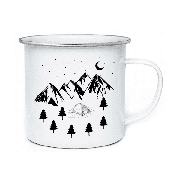 AA. Enamel Mugs Camping In Mountain
