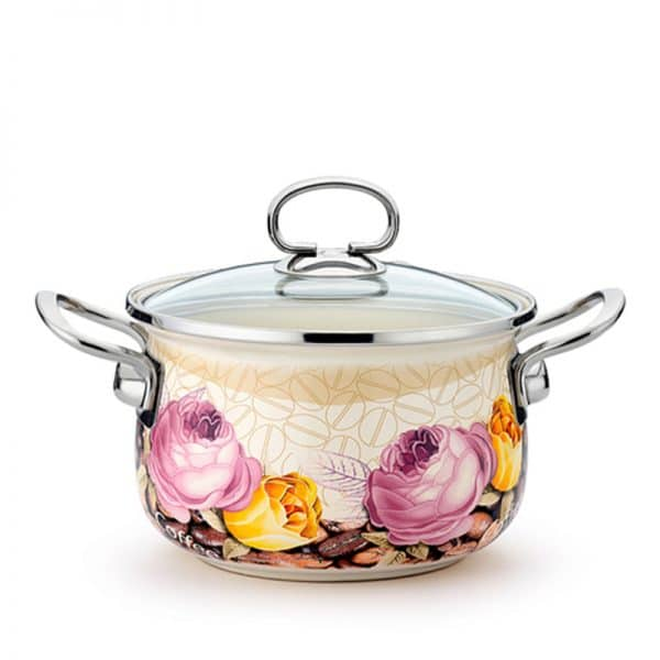 AH. Enamel Casserole Flowers Coffee Soup Pot