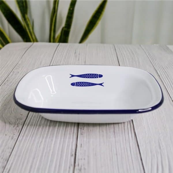 CF. Enamel Plate Baking Cheese Pie Tray Fish