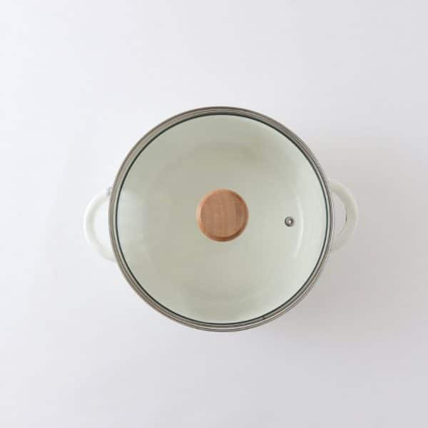 BB. Enamel Casserole White Stew Straight Pot