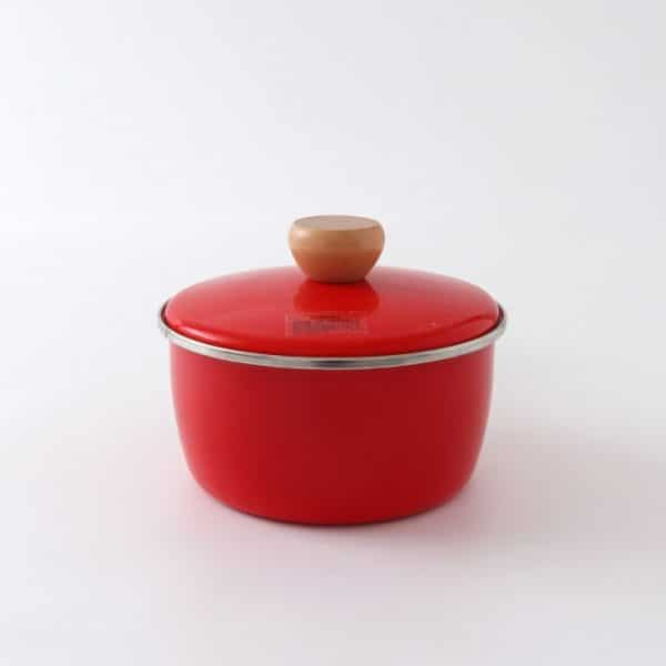 I. Enamel Saucepan Red Stew Pot With Wooden