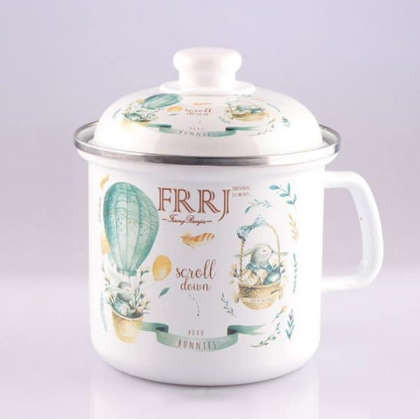 CI. Large Enamel Mug Flowers Hot Air Balloon With Lid