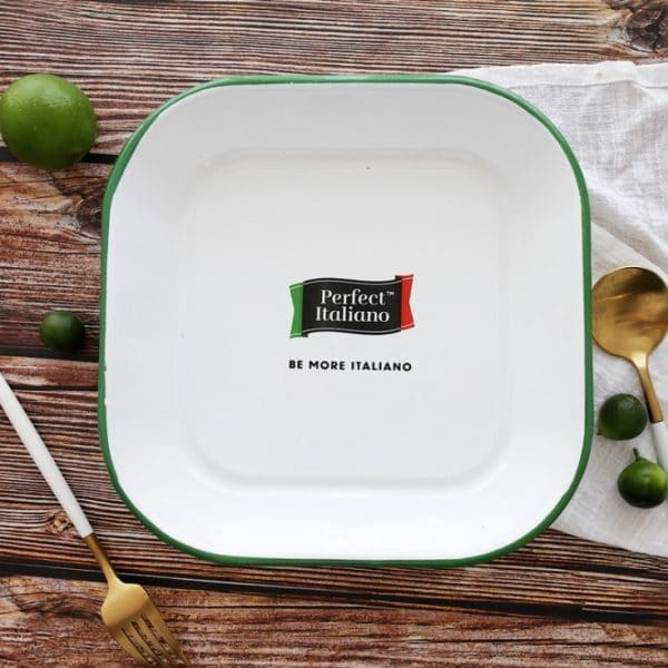 AI. Enamel Plate Green Rolled Square Food Dish