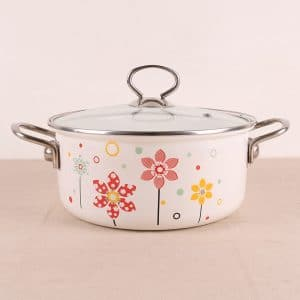 AC. Enamel Casserole Flower Straight Soup Pot