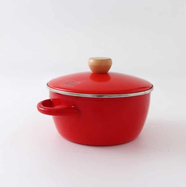 BH. Enamel Casserole Red Stew Inclined Pot