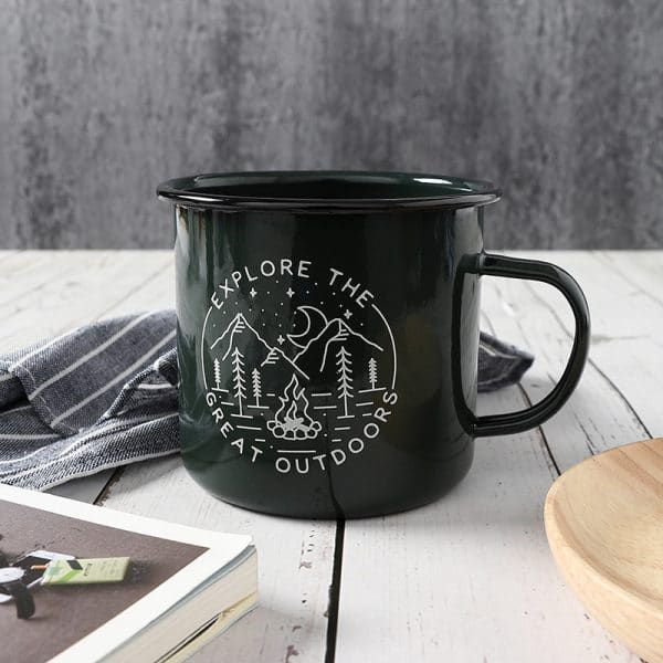 BF. Enamel Mug Green Coffee Cup