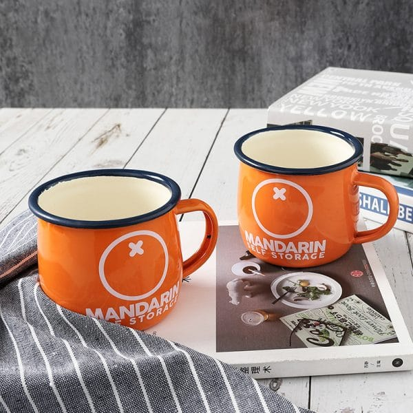 DC. Enamel Mug Orange Fat Belly Cup