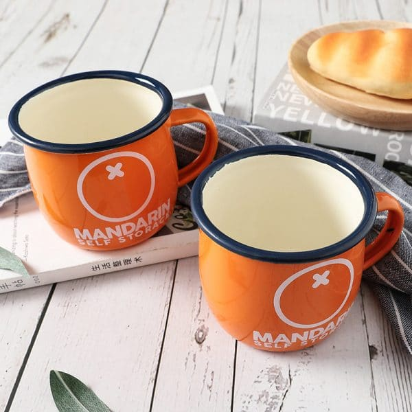 DC. Orange Enamel Mug Fat Belly Cup