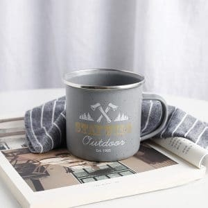 DA. Camping Mugs Enamel Grey Matte Cup Outdoor