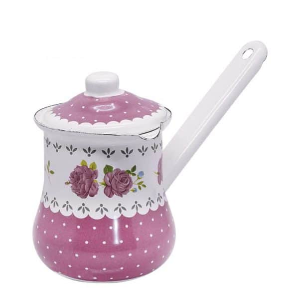 H. Enamel Coffee Hand Brewed Pot Pink Flowers