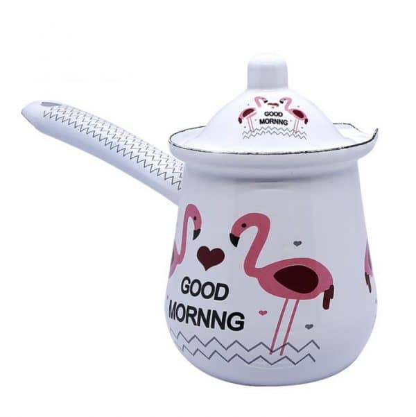 E. Enamel Coffee Hand Brewed Pot Flamingo